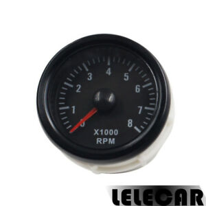 Black 2inch 52mm Tacho Gauges Meters Rpm Tinted 0 8 X1000 Rpm Car