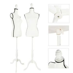 Female Mannequin Torso Dress Clothing Display White Tripod Stand Black Edge