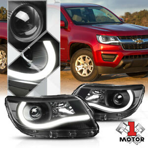 Black Projector Headlight Led L Bar Drl Clear Signal For 15 18 Chevy Colorado