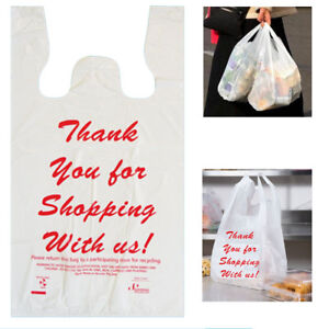 1200 T Shirt Grocery Bags Thank You Plastic Carry Out Recyclable Grocery Retail