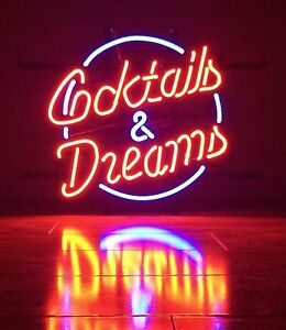 Cocktails And Dreams Neon Sign Display Beer Bar Pub Real Neon Light Custom Z040