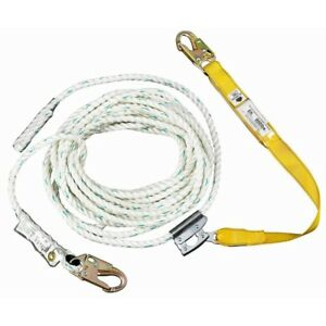 50 Ft Rope Lifeline With Lanyard Fall Protection Safety Gear Contractor