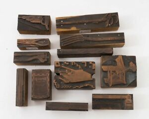 Lot Of 12 Vintage Hardware Store Copper Block Wood Stamp Letterpress Tools