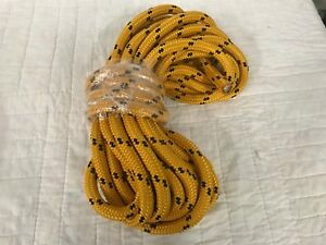 Double Braid Polyester 3 4 X40 Feet Arborist Rigging Tree Bull Rope Gold black