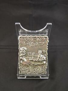 Antique Victorian Silver Castle Top Card Case Birmingham George Unite C 1866