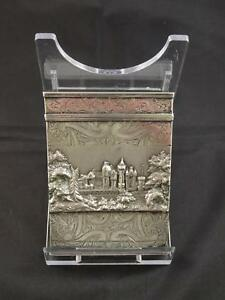 Antique Victorian Silver Castle Top Card Case Birmingham Gervase Wheeler 1837