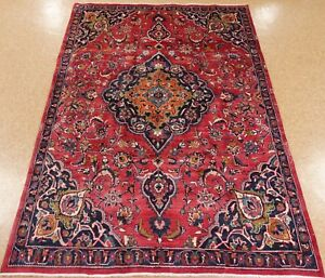 6 X 9 Persian Mashad Hand Knotted Wool Red Navy Oriental Rug Carpet