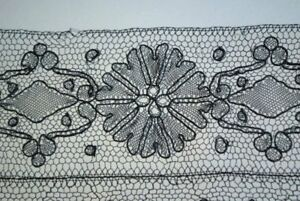 Antique French Chantilly Edging Lace Yardage