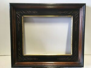 Deep 19th C Victorian Aesthetic Eastlake Incised Gold Gilt Ebonized Frame