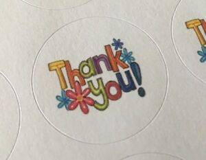 514 Thank You With Flowers Envelope Seals Labels Sticker Celebrations Business