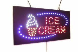 Ice Cream Sign Super Bright High Quality Led Open Sign Store Sign Business