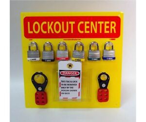 National Marker Lob1y Lockout Center Yellow Backboard With Hooks And Supplie