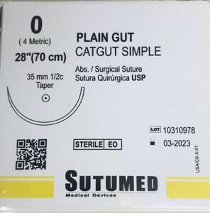 Sutumed Plain Gut 0 1 2 35mm Taper Point Surgical Suture
