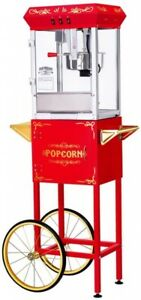 All Star 8 Oz Popcorn Machine Cart Popper Maker Party Home Stainless Steel Red