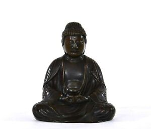19th Century Edo Period Japanese Bronze Seated Amida Buddha 926 Gram