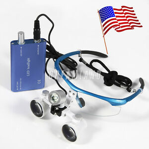 Dental Surgical 3 5x Binocular Magnifier Glasses Loupes Led Head Light Bfe jy