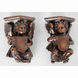 Fine Antique Pair Of French Carved Walnut Architectural Cherubs Putti Angels