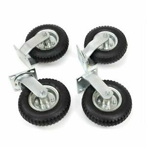 8 10 4pcs Pneumatic Air Tire Wheels 2 Rigid 2 Swivel Hd Farm Cart Caster