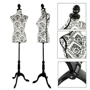Female Mannequin Torso Dress Form Clothing Display W black Tripod Stand Black