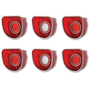 68 Chevy Impala Caprice Red White Rear Tail Back Up Light Lens Lenses Trim Set 6