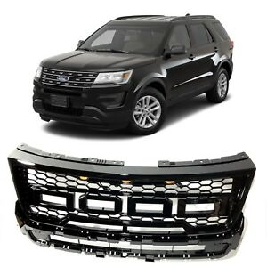 2016 2017 Ford Explorer Front Grill Raptor Style Sport Mesh Gloss Black Grille