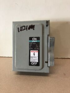 Siemens I t e Enclosed On off Switch 240v 30a Cat No Jn421r Used