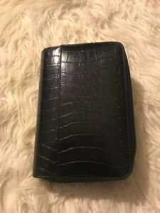 Mundex Mundi Personal Daily Planner Black Croc Zipper Compartments