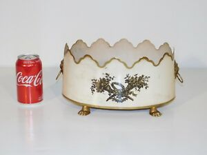 Antique Vintage Italian Tole Beige Shabby Claw Footed Lion S Face Cache Pot