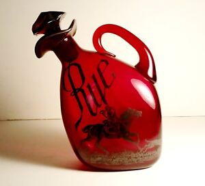 Ruby Red Glass Silver Overlay Stoppered Pitcher Antique Amer Decanter Rye Horse
