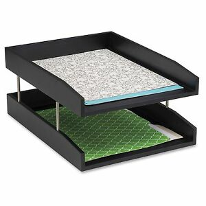 Safco Wood Double Letter Tray 6 3 Height X 13 8 Width X 10 5 Depth