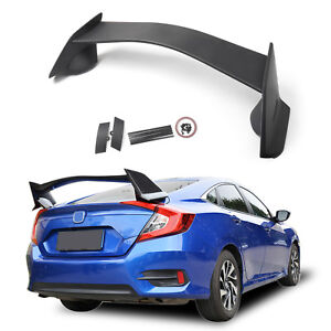 For 2016 2018 Honda Civic 4dr Sedan Type R Style Plastic Rear Trunk Wing Spoiler