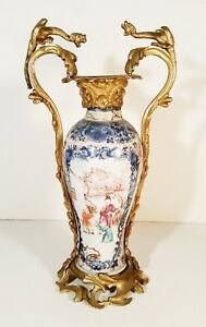 Chinese Famille Rose Vase Lamp With Gilt Bronze Mounts Dragons 18c Figures