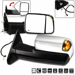 For 09 17 Dodge Ram 1500 2500 3500 Chrome Power Heated Puddle Signal Tow Mirrors