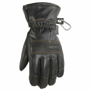 Black Leather Winter Gloves Water resistant Hydrahyde 100 Gram Thinsulate