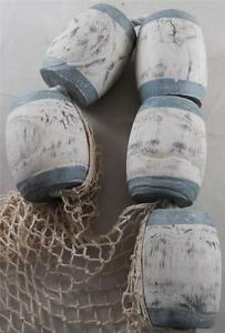 Set Of Wood Buoys Fish Net Nautical Beach Seaside Pool Patio Restaurant Decor