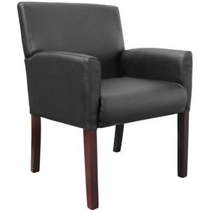 Black Waiting Guest Visitors Chair Mid back Seat Vinyl Upholstered Office Chair