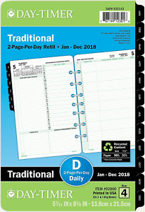 Day timer Daily Planner Refill 2018 Two Page Per Day Loose Leaf 5 1 2 X 8 1 2