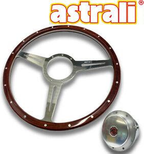 Astrali Mga 15 Inch Classic Slotted Wood Steering Wheel With Boss For Mga
