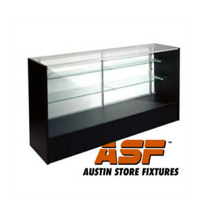 Full Vision Showcase Retail Glass Display Case 48 Long Black