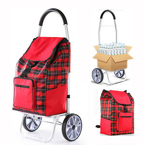 Foldable Shopping Cart Rolling Laundry Grocery Bag Trolley Large Lightweight Red