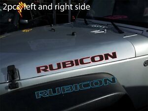 2pcs Pair Of 2 Color Rubicon 25 Vinyl Sticker Decal For Jeep Wrangler Hood