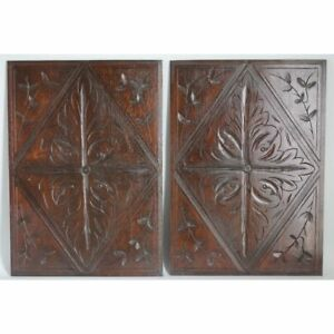Large Pair Antique French Carved Oak Louis Xiii Hunt Style Salvaged Panels
