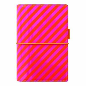 Filofax 2018 Domino Organizer Personal 6 75 X 3 75 Patent Orange pink Stripes