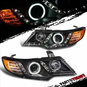 ccfl Halo for 2010 2011 2012 2013 Kia Forte Koup Black Led Headlights Lamps Set