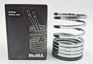 Moma Chrome plated Steel Cherry Wood Spring Pencil Holder Designed By Kaedeoka