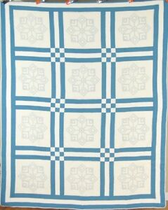 Beautiful 30 S Blue White Tumbling Block Star 9 Patch Antique Quilt