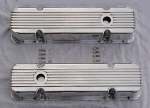 1959 79 Pontiac 350 389 400 421 455 Polished Aluminum Tall Finned Valve Covers
