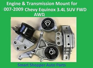 Engine Transmission Mount For 2007 2008 2009 Chevy Quinox Suv Fwd Awd 4 Pieces