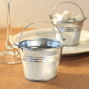 Silver Pails Miniature Galvanized Metal Bucket Wedding Favors Holders Pack of 12 $17.99