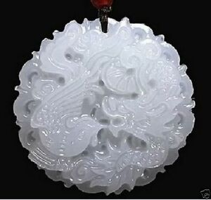 Natural Hand Carved Chinese Jade Pendant Dragon Phoenix Natural